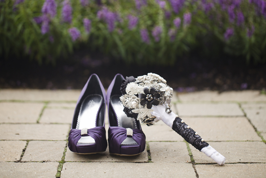 Purple Bow Bridesmaid Shoes and a Bridal Broach Bouquet