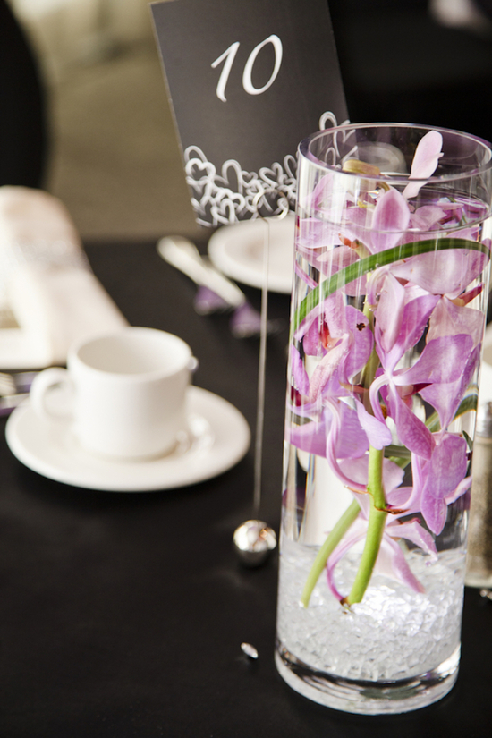 photo of Modern Black and White Real Wedding with Purple Accents