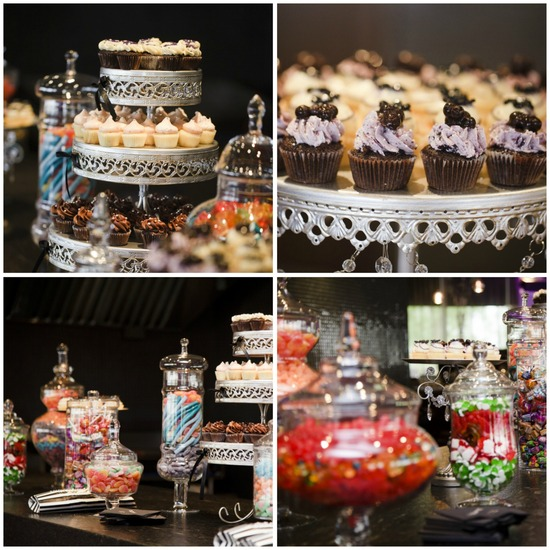 Delicious Dessert Table with Candy and Cupcakes