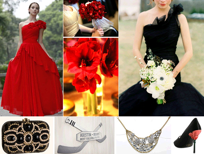 Sports-themed-inspired-wedding-hockey-chicago-blackhawks-black-white-red-gold-fashion-for-bridesmaids-dresses-shoes-clutch.original