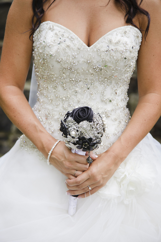 Bridal Gown with a Blingy Bodice and a Bridal Broach Bouquet