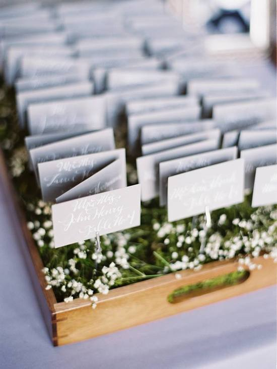 Escort cards - white on grey