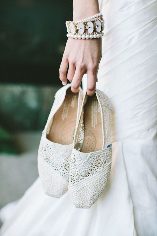 Lacey White Toms as Bridal Shoes