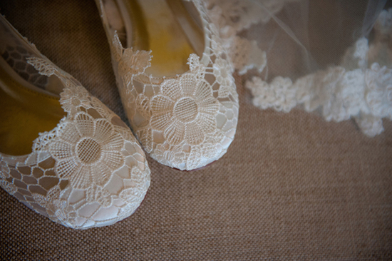 Delicate Lacey Bridal Flats with Floral Embellishments