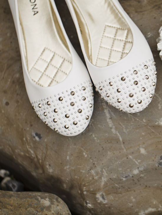 Bedazzled Bridal Flats and a Garter Flask