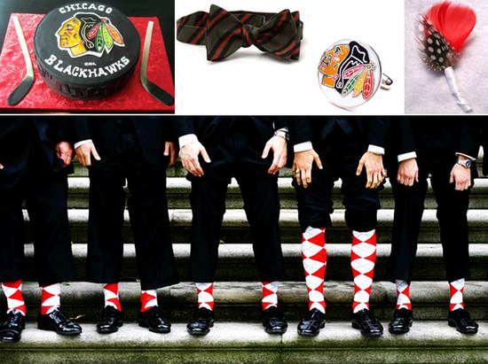 Groom's cake shaped like a Chicago Blackhawks hockey puck; fun and festive red and white socks