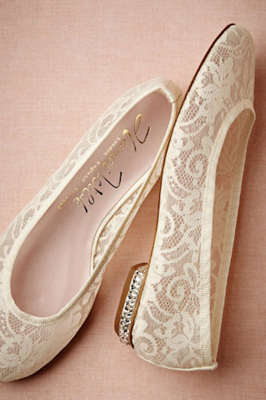 BHLDN Lille Bridal Flats with Swarovski Encrusted Heels