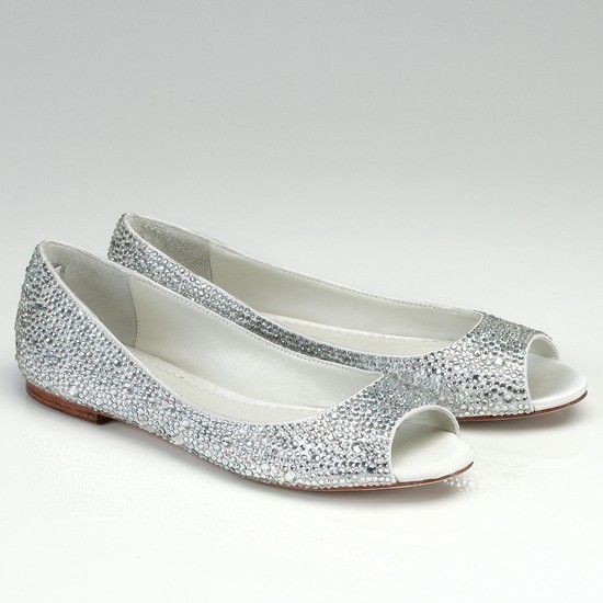 Peep Toe Crystal Encrusted Bridal Flats