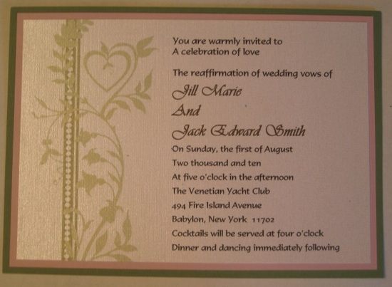 This is one of the options for a wedding invitation for the stealth wedding or vow renewal.