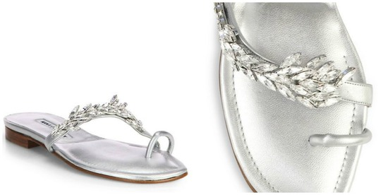 Manolo Blahnik Nadira Jeweled Metallic Leather Sandals