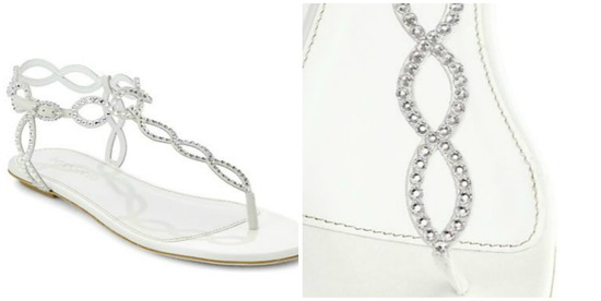 Sergio Rossi Bridal Crystal Coated Suede Thong Sandals