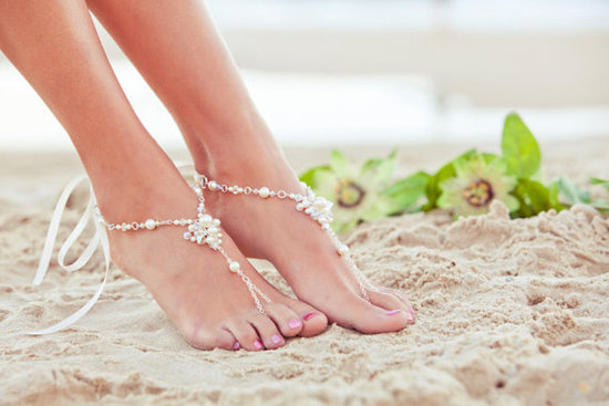 Boho Barefoot Sandal with Pearls