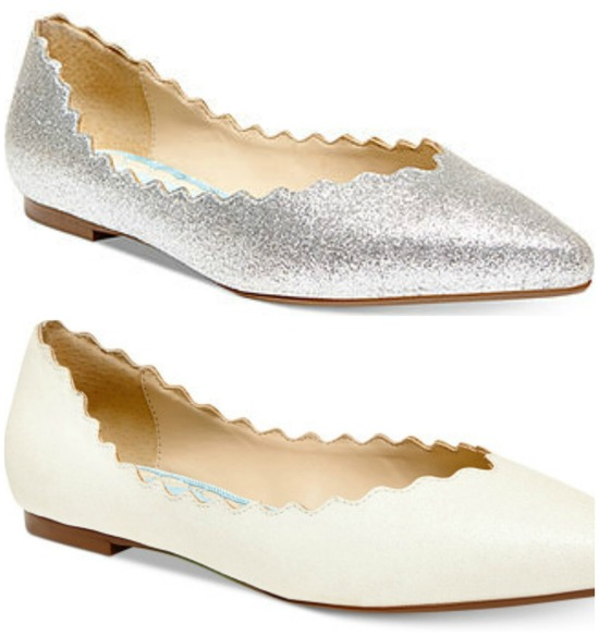 Blue By Betsey Johnson Scalloped Flats in Silver or Ivory