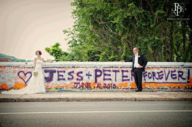 Urban-wedding-day-graffiti-on-side-of-street-love-wedding-date-sentimental.full