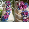 Classic-four-tier-ivory-wedding-cake-adorned-with-bright-fuchsia-roses-and-blue-hydrangeas.square