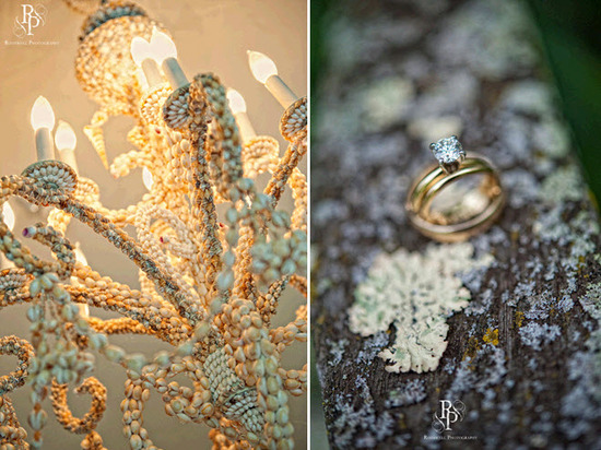Beautiful antique gold and ivory braided chandeliers in wedding reception room; engagement ring shot
