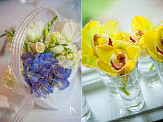 Sweet ivory and deep violet flowers in flower girl basket; vibrant yellow orchids in glass votive ho