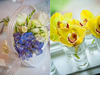 Bright-yellow-orchids-arranged-in-glass-shot-glasses-for-wedding-reception-decor-adorable-ivory-purple-flower-girl-basket.square