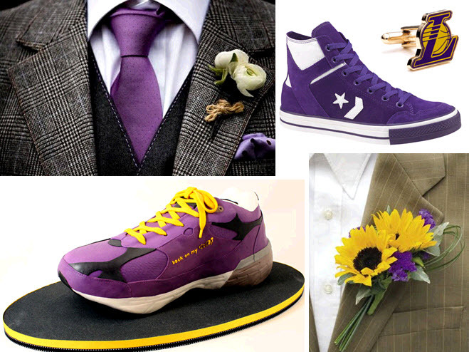 Groom-attire-accessories-wedding-cake-lakers-inspired-sports-wedding-purple-yellow.full