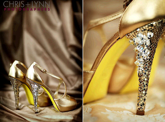 HOT Versace yellow and gold bridal shoes, with jewel-encrusted heel