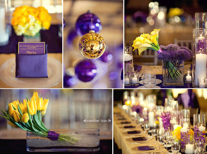 Vibrant Purple And Yellow Wedding Reception Tablescape With Tulips Orchids