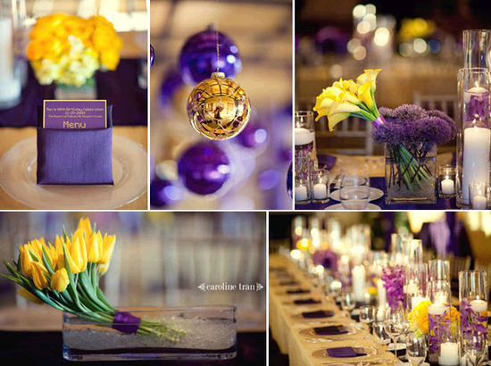 Vibrant purple and yellow wedding reception tablescape, with yellow tulips and purple orchids