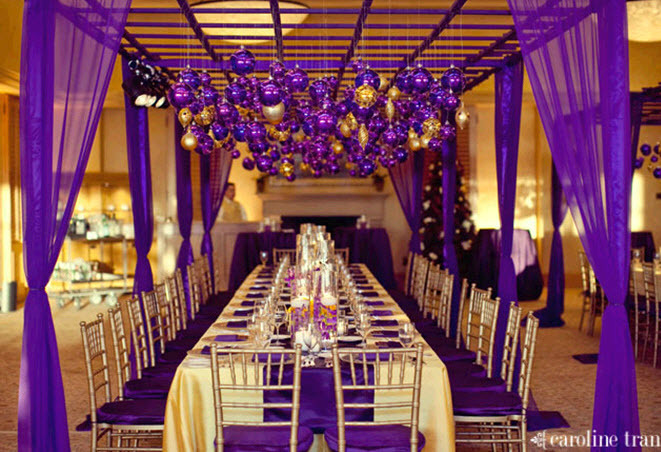 Stunning reception room decorated head to toe with purple and gold.  Go Lakers!