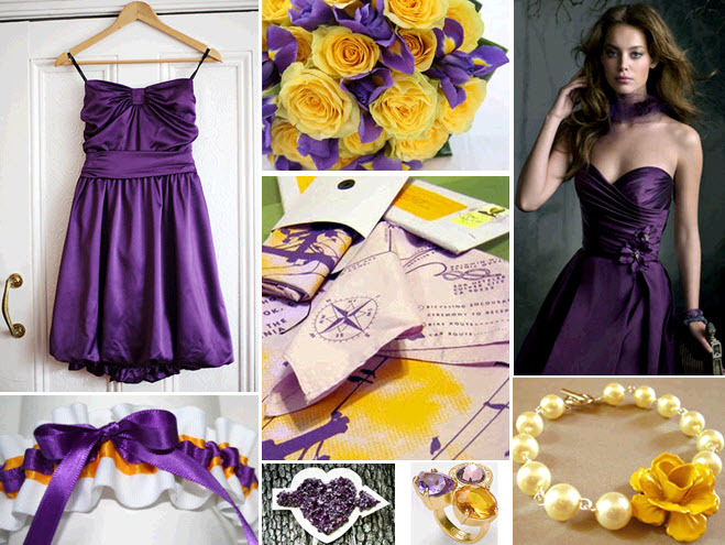 Chic-la-lakers-inspired-wedding-purple-bubble-dress-for-bridemaids-purple-gold-bridal-garter-accessories.full