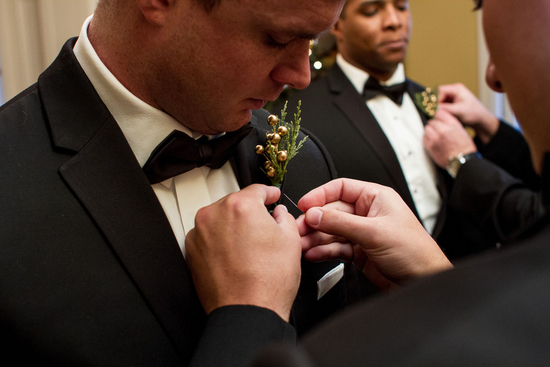 Boutonniere with Jingle Bells and Greenery