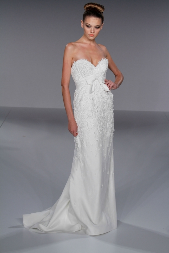 Romantic white sheath style wedding dress with deep sweetheart neckline