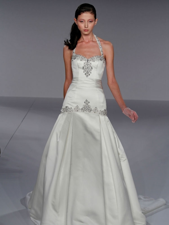 Gorgeous drop waist halter satin wedding dress with jeweled beading on neckline and waist