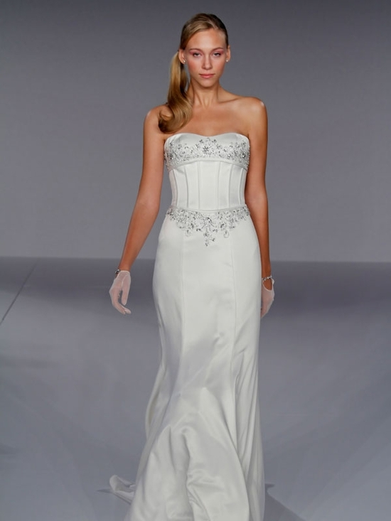 Strapless sheath wedding dress with corsetted bodice from Jewel by Priscilla of Boston