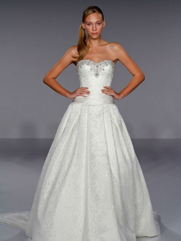 Dramatic white lace strapless ball gown wedding dress with for Jewel neckline wedding dress