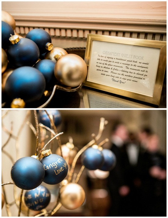 Ornament Signing as a Guest Book at a Winter Wedding