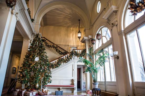 photo of Grand Winter Wedding Venue with Christmas Tree