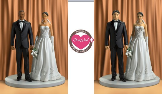 photo of These Renellie cake toppers featuring African-American, Hispanic, and Asian-American brides and groo