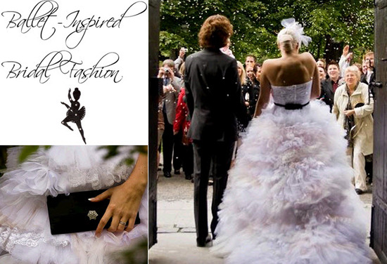 Parisian chic ballet-inspired ballgown wedding dress with black sash