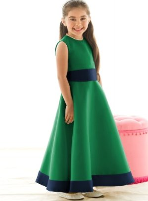 This is the adorable shamrock green flower girl dress that my daughter will be wearing. It has a nav