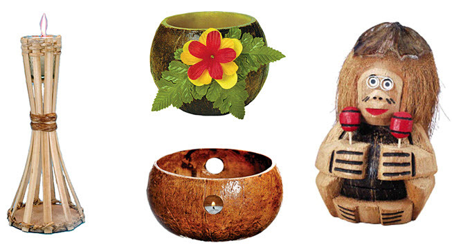 Extra Tropical Touches  Tiki Torches For Each Table, And Candles In Coconut  Shells!