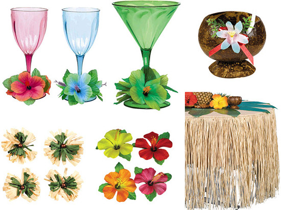 Festive luau-inspired glassware, floral clips, and raffia tableskirt for your tropical pre-wedding p