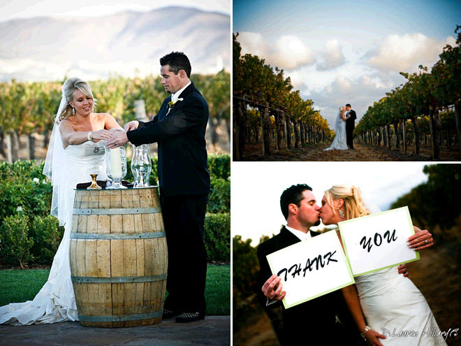 Bride-and-groom-light-unity-candle-at-outdoor-wedding-ceremony-at-winery-thank-you-signs.full