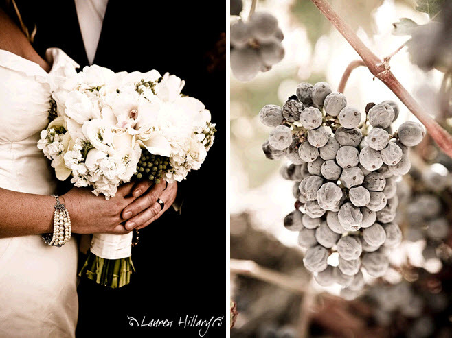 Bride holds all white bridal bouquet, groom in black tux; stunning frosty grapes at winery