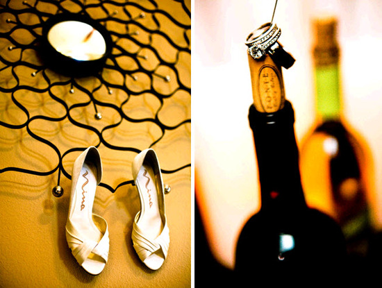 Open toe ivory bridal heels by Nina; diamond engagement ring and wedding bands sit atop wine bottle