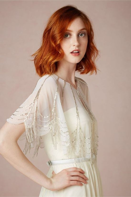 BHLDN Trickling Capelet with Embellished Beading