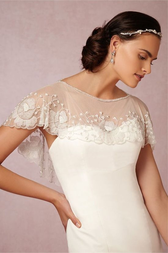 Embroidered Capelet With Scalloped Edges