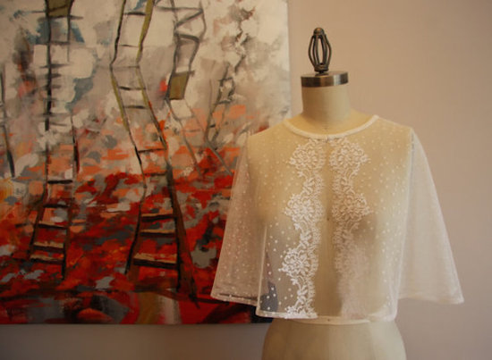 Dotted Swiss and Vintage Lace Capelet