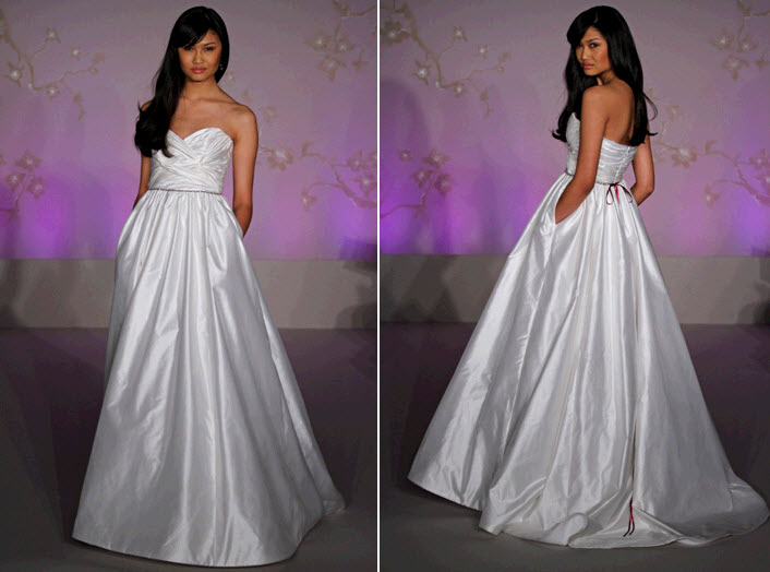 And chic strapless ball gown wedding dress with pockets onewed com