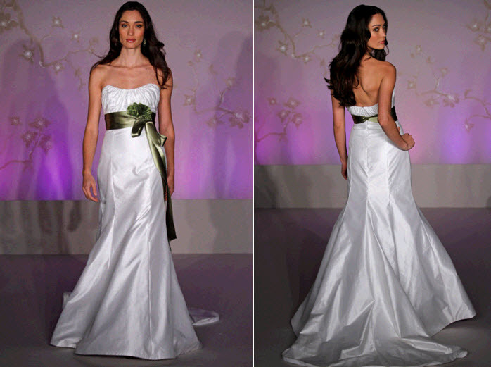 Strapless white wedding dress with trumpet skirt and deep olive green ribbon sash