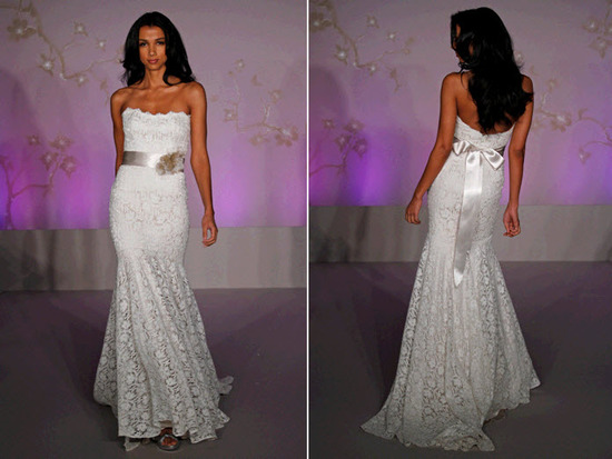 Strapless lace mermaid wedding dress with satin sash at natural waist