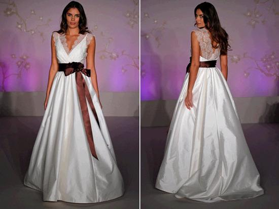 Gorgeous White Ballgown Blush Wedding Dress With Lace At V Neck Neckline